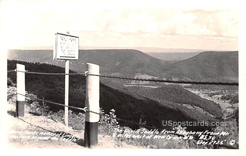 The Devils Saddle from Alleghany From Mountain - New Creek, West Virginia WV Postcard