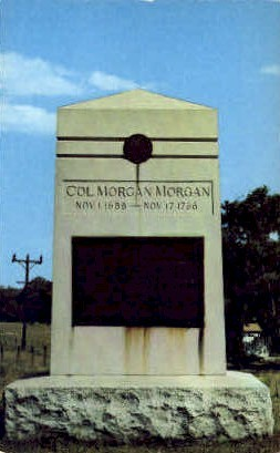 Monument to Col. Morgan Morgan  - Bunker Hill, West Virginia WV Postcard