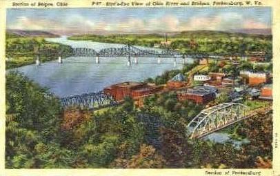 Ohio River and Bridges - Parkersburg, West Virginia WV Postcard