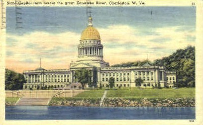 State Capitol & Kanawha River  - Charleston, West Virginia WV Postcard