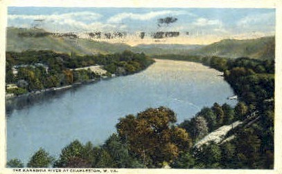 The Kanawha River  - Charleston, West Virginia WV Postcard