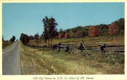Old Rail Fence  - Mountain Storm, West Virginia WV Postcard