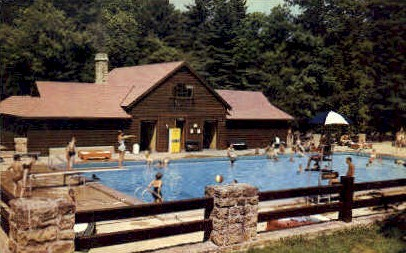 Swimming Pool  - Watoga State Park, West Virginia WV Postcard
