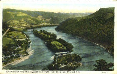 Junction of New & Greenbrier Rivers - Hinton, West Virginia WV Postcard