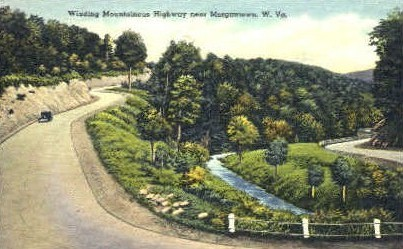 Winding Mountainous Highway - Morgantown, West Virginia WV Postcard