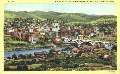 From Palatine Knob  - Fairmont, West Virginia WV Postcard