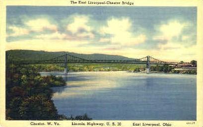 The East Liverpool-Chester Bridge - West Virginia WV Postcard