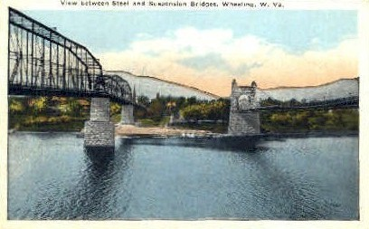 Steel & Suspention Bridges - Wheeling, West Virginia WV Postcard