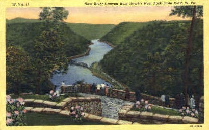 New River Canyon  - Hawk's Nest State Park, West Virginia WV Postcard