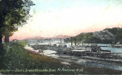 Harbor & Docks - Great Kanawha River, West Virginia WV Postcard