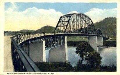 East Charleston Bridge  - West Virginia WV Postcard