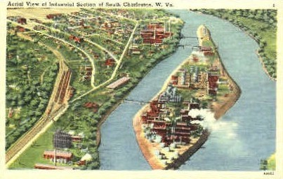 Industrial Section  - South Charleston, West Virginia WV Postcard