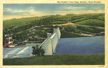 The Gratton Flood Dam  - Grafton, West Virginia WV Postcard