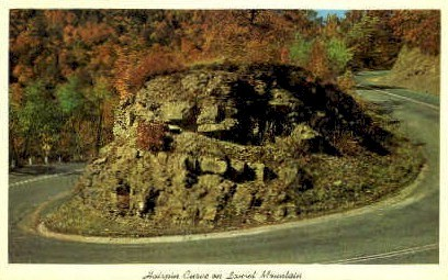 Hairpin Curve  - Laurel Mountain, West Virginia WV Postcard
