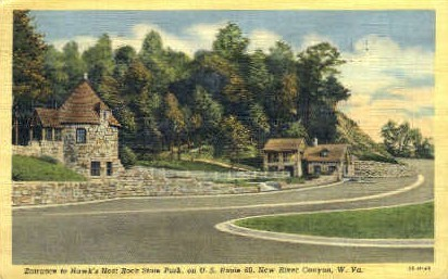 Hawks Nest State Park - New River Canyon, West Virginia WV Postcard