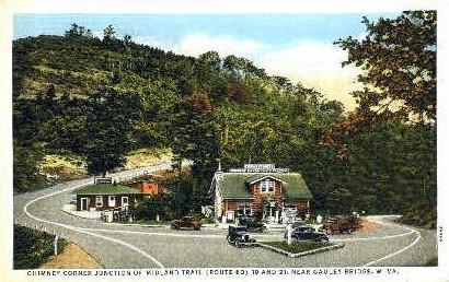 Chimney Corner Junction - Midland Trail, West Virginia WV Postcard