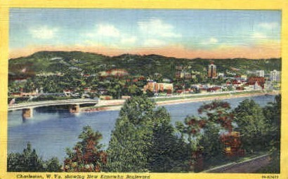 New Kanawha Bouldevard - Charleston, West Virginia WV Postcard