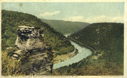 Chimney Rock & New River Canyon - Fayette, West Virginia WV Postcard