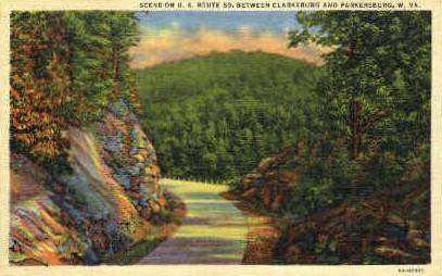 Route 50  - Clarksburg, West Virginia WV Postcard