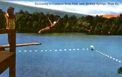 Swimming   - Cacapon State Park, West Virginia WV Postcard