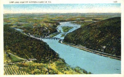 Airplane View  - Harpers Ferry, West Virginia WV Postcard