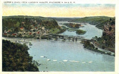 From Loudoun Heights - Harpers Ferry, West Virginia WV Postcard