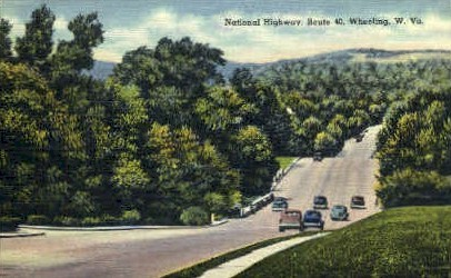 National Highway - Wheeling, West Virginia WV Postcard