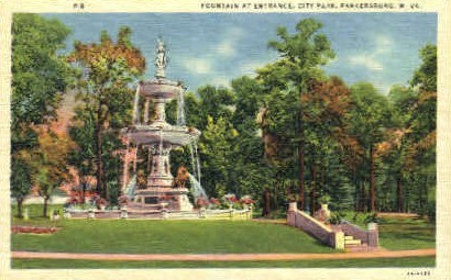Fountain  at City Park Entrance  - Parkersburg, West Virginia WV Postcard