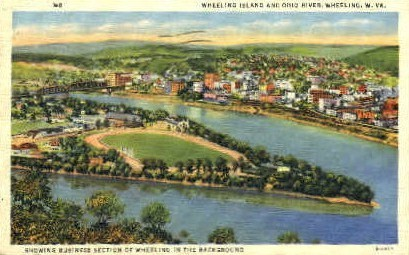 Wheeling Island & Ohio River - West Virginia WV Postcard