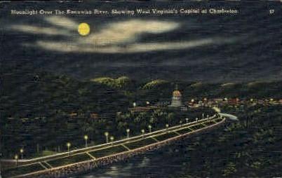 The Kanawha River  - Charleston, West Virginia WV Postcard