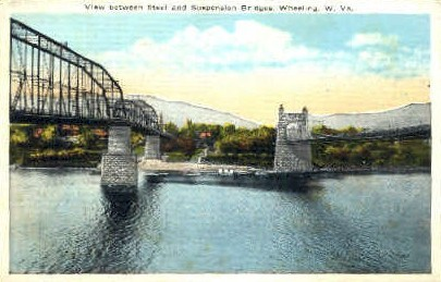 Steel & Suspension Bridges - Wheeling, West Virginia WV Postcard