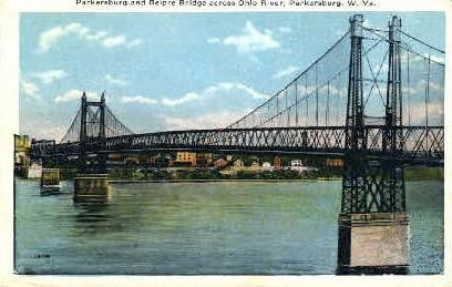 Parkersburg & Belpre Bridge  - West Virginia WV Postcard
