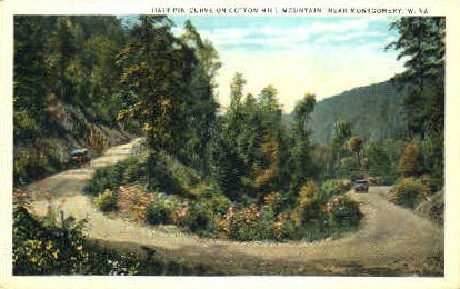 Hairpin Curve  - Cotton Hill Mountain, West Virginia WV Postcard
