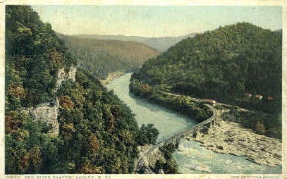 New River Canyon  - Gauley, West Virginia WV Postcard