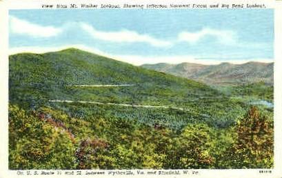 Mt. Walker Lookout - Wytheville, West Virginia WV Postcard