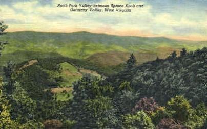 North Fork Valley  - Spruce Knob, West Virginia WV Postcard