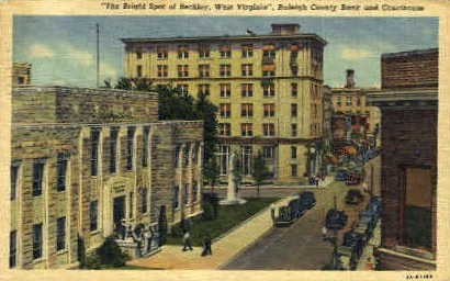 Raleigh County Bank & Courthouse - Berkeley Springs, West Virginia WV Postcard