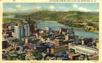 Ohio River and Wheeling  - West Virginia WV Postcard