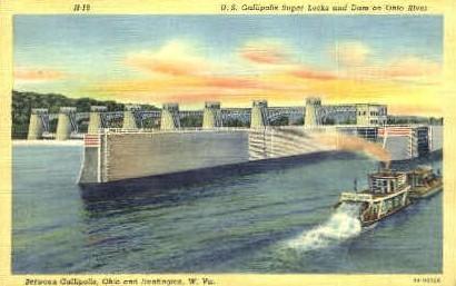 U.S. Gallipolis Super Locks & Dam  - Huntington, West Virginia WV Postcard