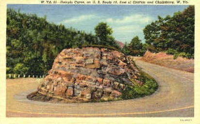 Hairpin Curve  - Grafton, West Virginia WV Postcard