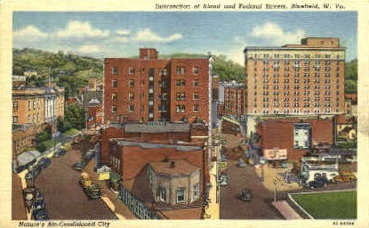 Intersection of Bland & Federal Streets - Bluefield, West Virginia WV Postcard