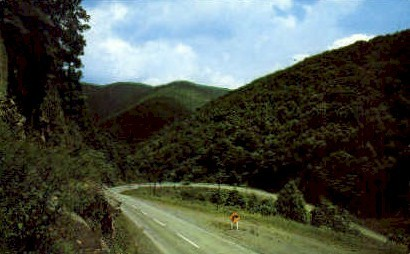 Hairpin Curve  - Seneca, West Virginia WV Postcard