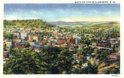 Birds Eye View  - Clarksburg, West Virginia WV Postcard