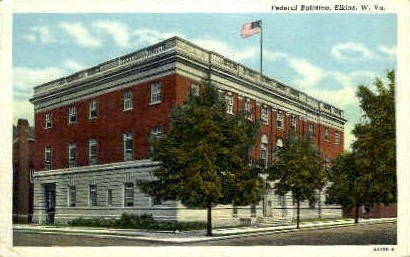 Federal Building  - Elkins, West Virginia WV Postcard