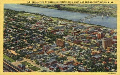 Business Section, Ohio River & Bridge - Huntington, West Virginia WV Postcard
