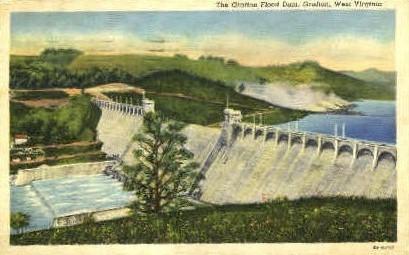 The Grafton Flood Dam - West Virginia WV Postcard
