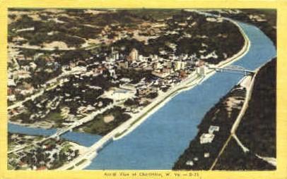 Ariel View  - Charleston, West Virginia WV Postcard