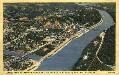 Kanawha Boulevard & Kanawha River  - Charleston, West Virginia WV Postcard