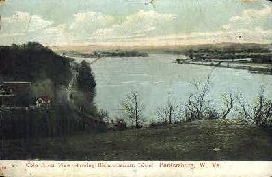 Ohio River showing Blennerhassett Island - Parkersburg, West Virginia WV Postcard