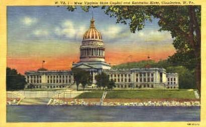 State Capitol & Kanawha River  - Charleston, West Virginia WV Postcard
